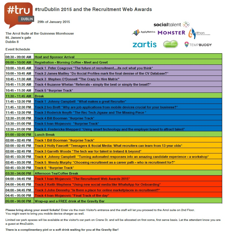 Event Schedule For TruDublin And The Recruitment Web Awards 2015